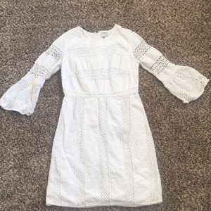 White mini dress with long sleeves